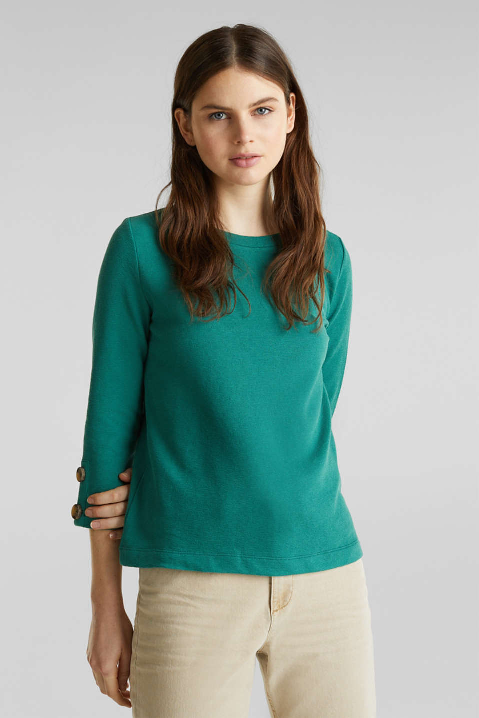 Top with buttons, 100% cotton, TEAL GREEN, detail image number 0