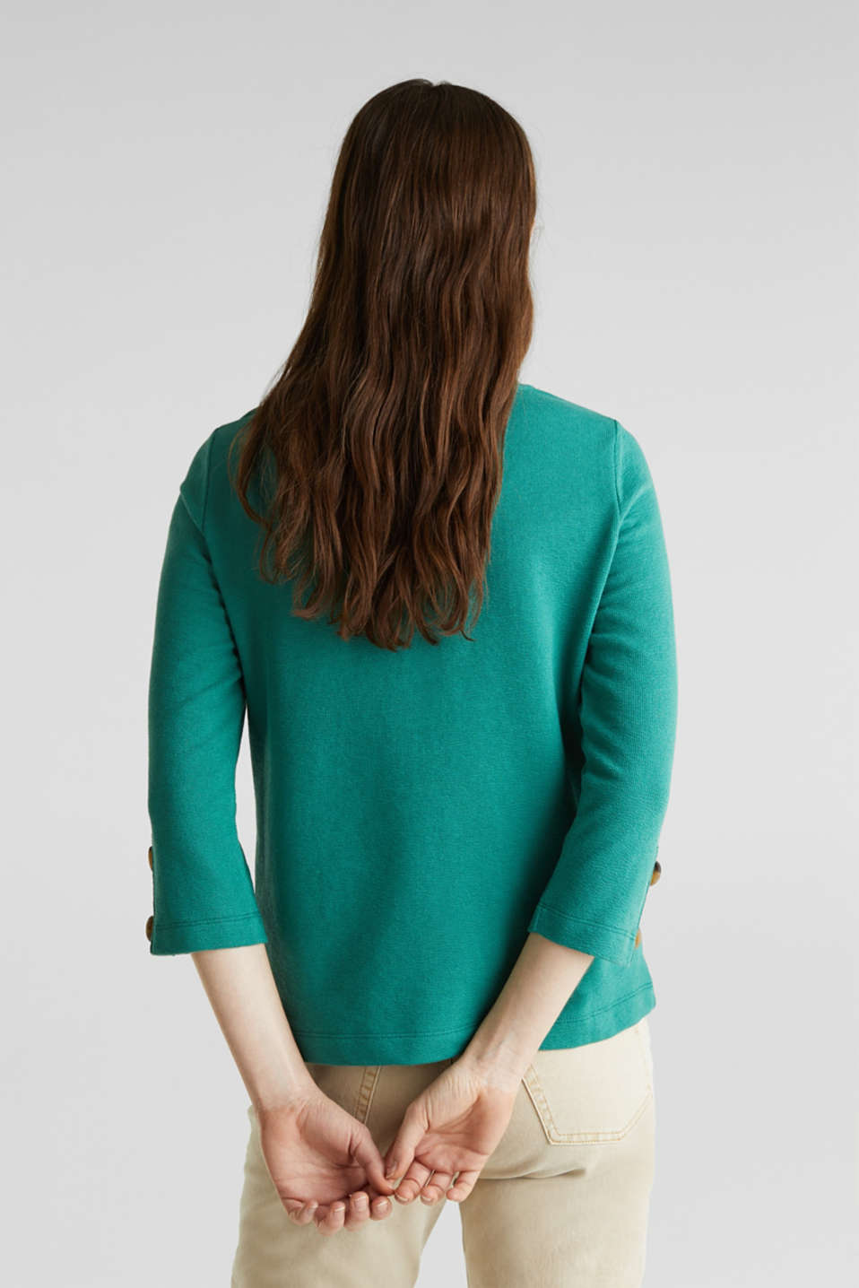 Top with buttons, 100% cotton, TEAL GREEN, detail image number 3