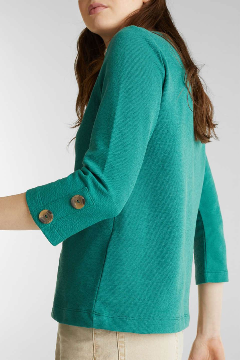 Top with buttons, 100% cotton, TEAL GREEN, detail image number 2