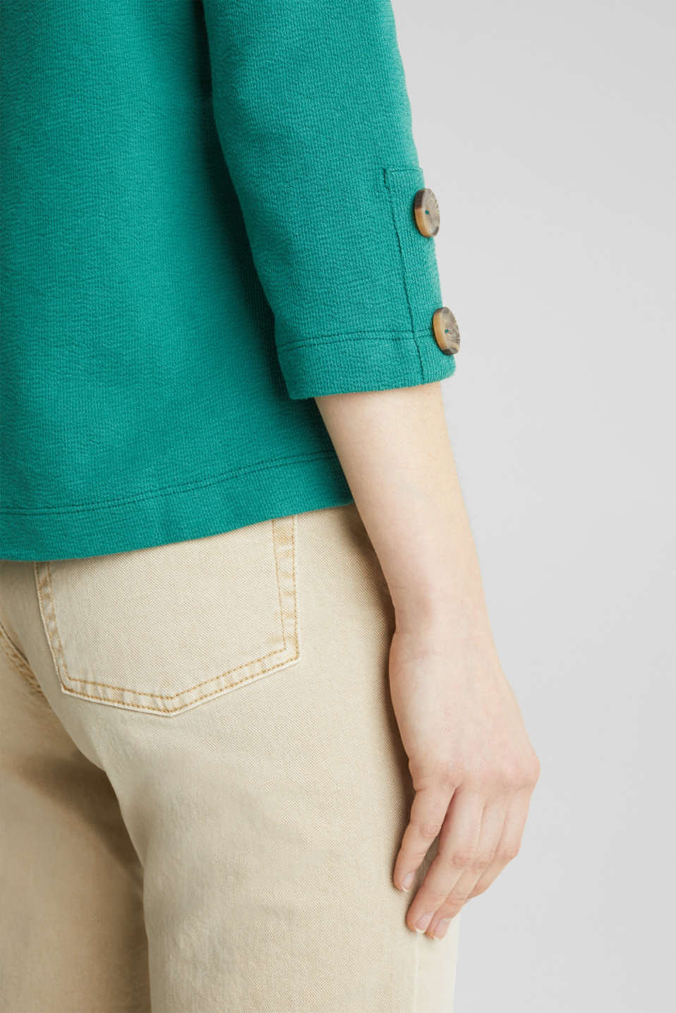 Top with buttons, 100% cotton, TEAL GREEN, detail image number 5