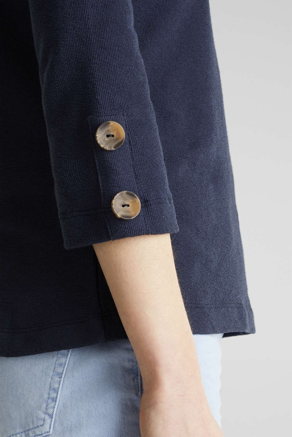 Top with buttons, 100% cotton, NAVY, detail image number 2