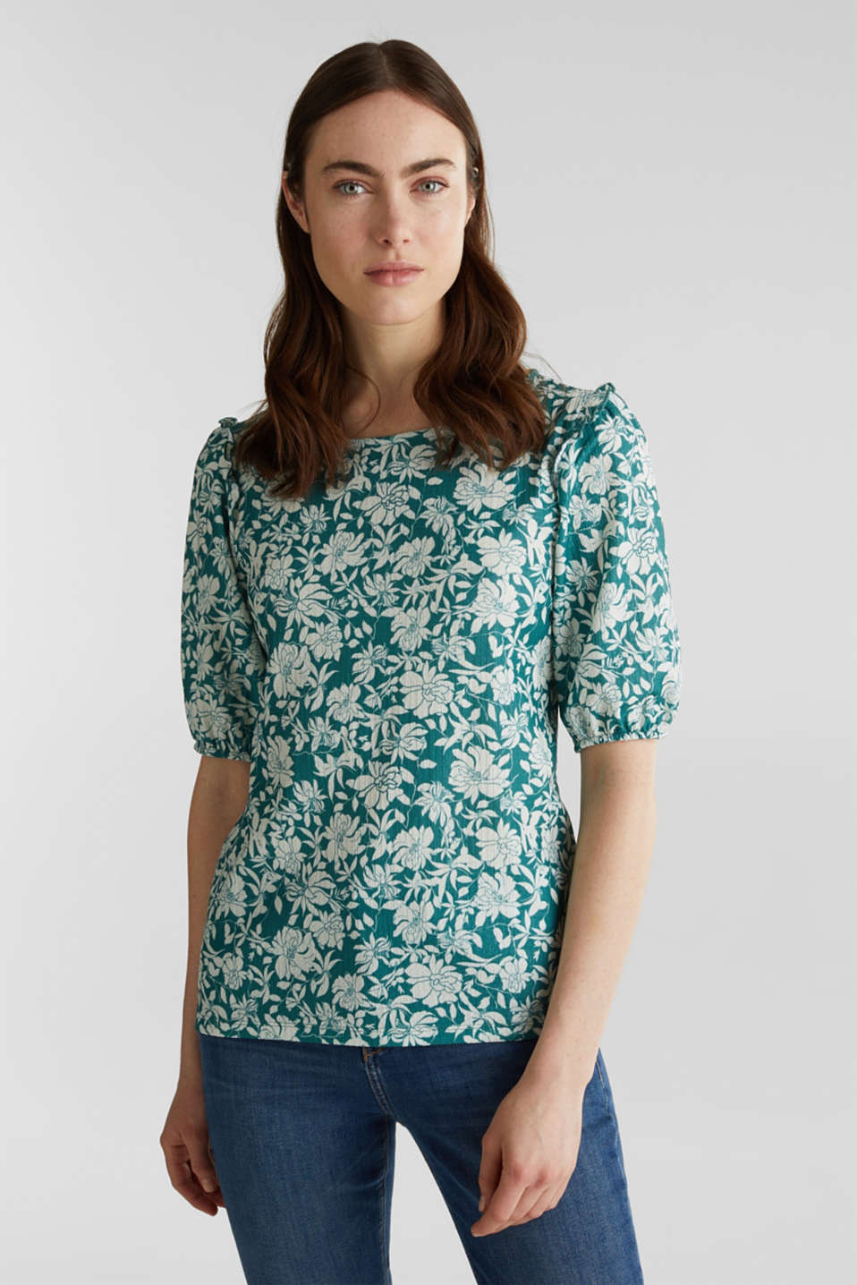 Blouse top with frills, recycles, TEAL GREEN 2, detail image number 0