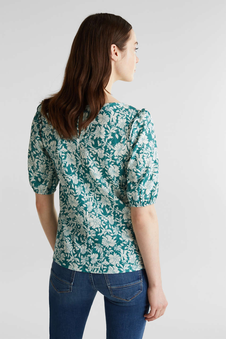 Blouse top with frills, recycles, TEAL GREEN 2, detail image number 3