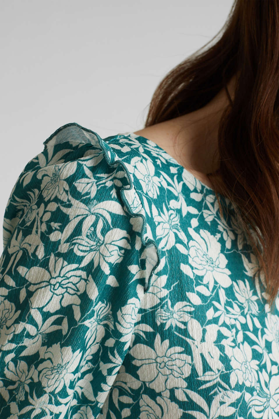 Blouse top with frills, recycles, TEAL GREEN 2, detail image number 2