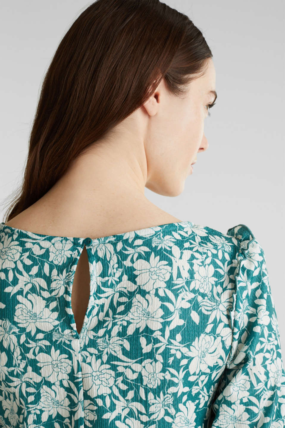 Blouse top with frills, recycles, TEAL GREEN 2, detail image number 5