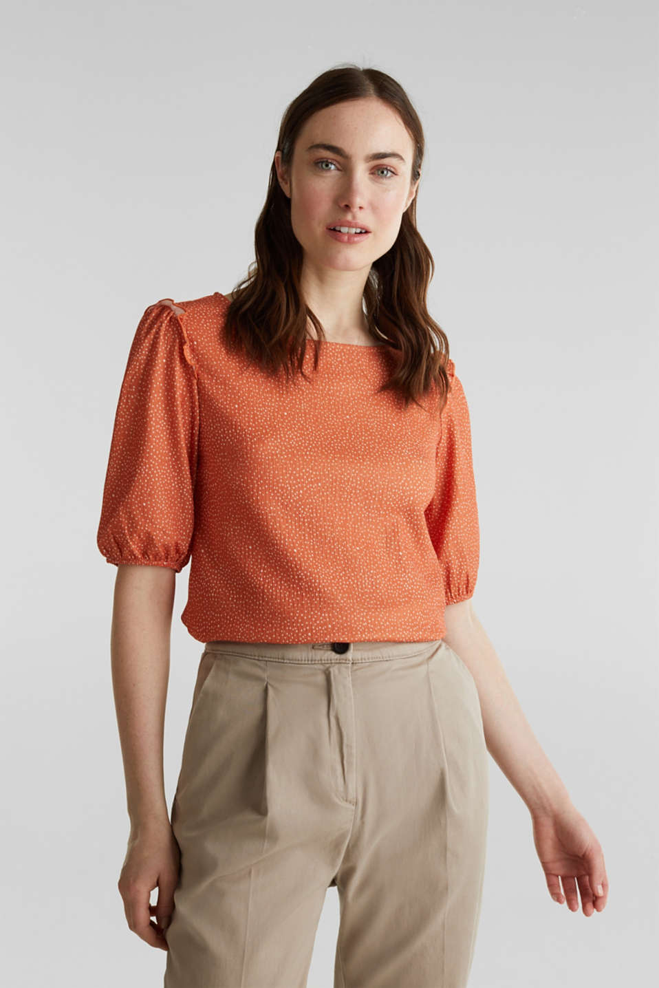 Esprit - Blouse top with frills, recycles