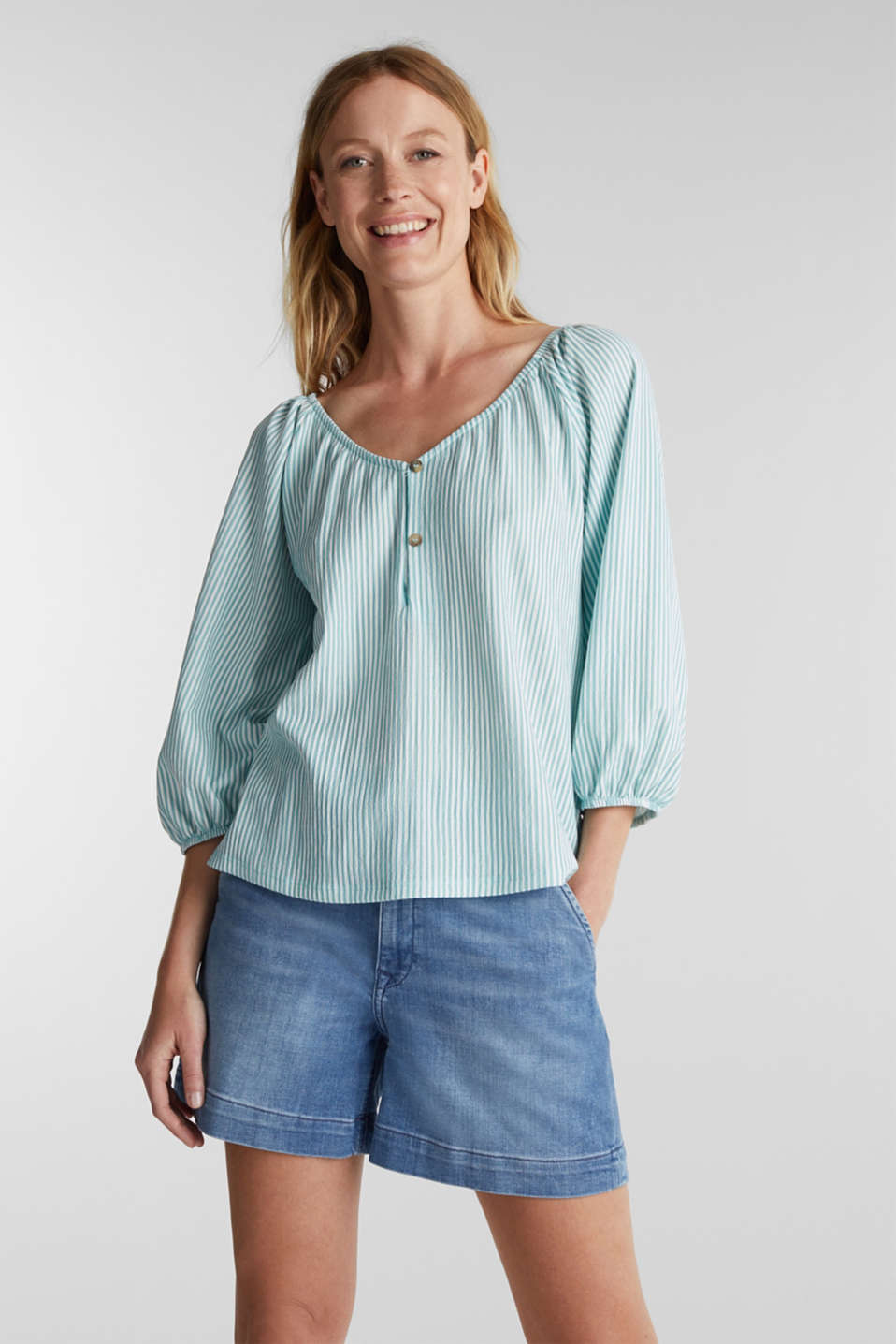 Esprit - Striped blouse top, recycled