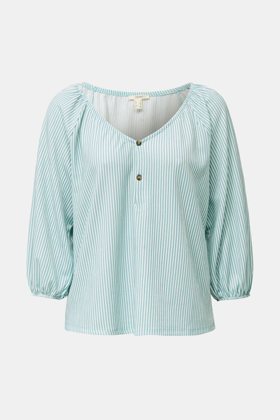 Striped blouse top, recycled, LIGHT AQUA GREEN, detail image number 5