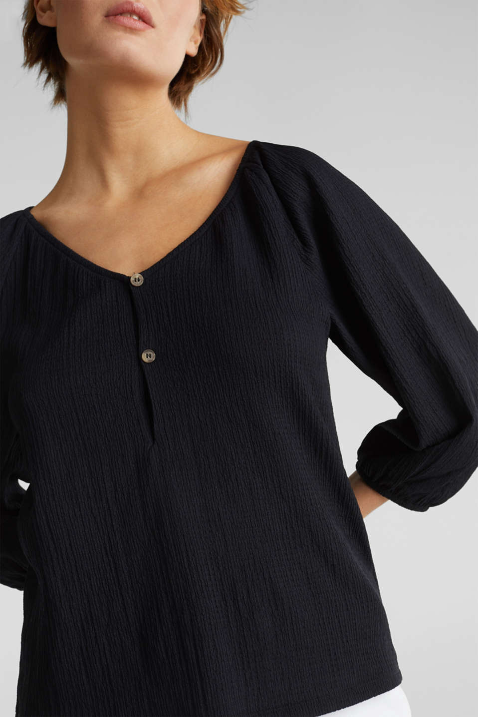 Textured blouse top, recycled, BLACK, detail image number 2