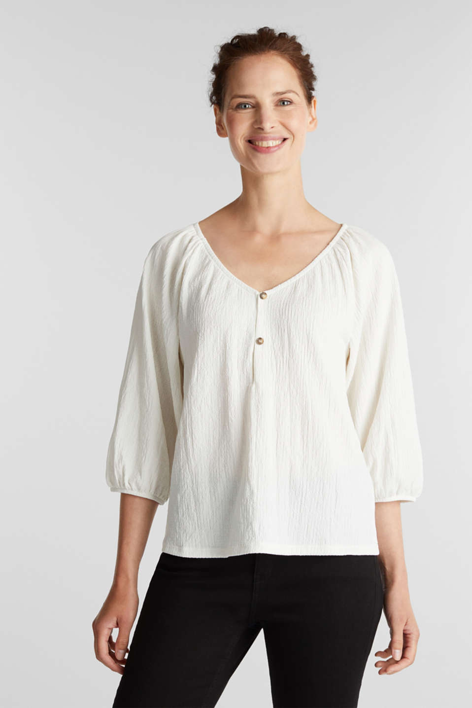 Esprit - Textured blouse top, recycled