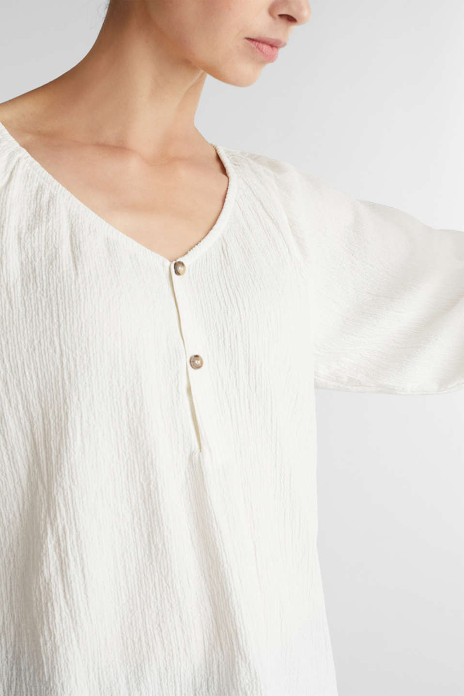 Textured blouse top, recycled, OFF WHITE, detail image number 2