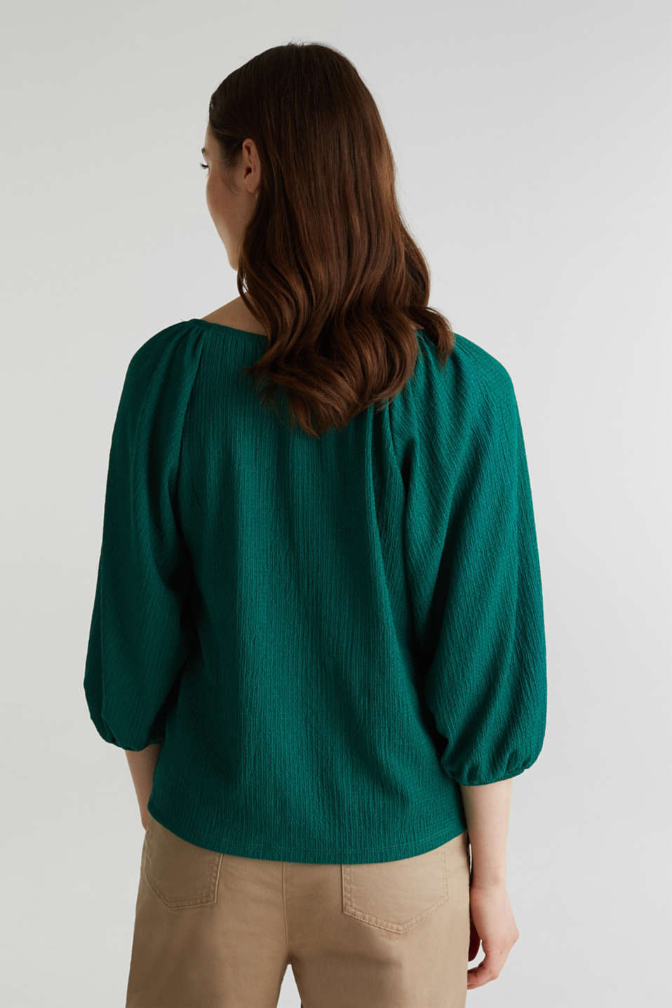 Textured blouse top, recycled, TEAL GREEN, detail image number 3