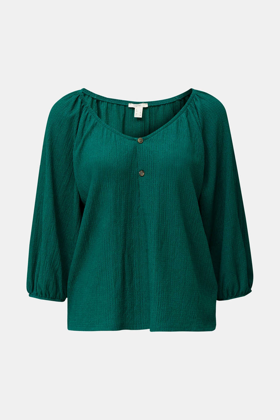 Textured blouse top, recycled, TEAL GREEN, detail image number 6