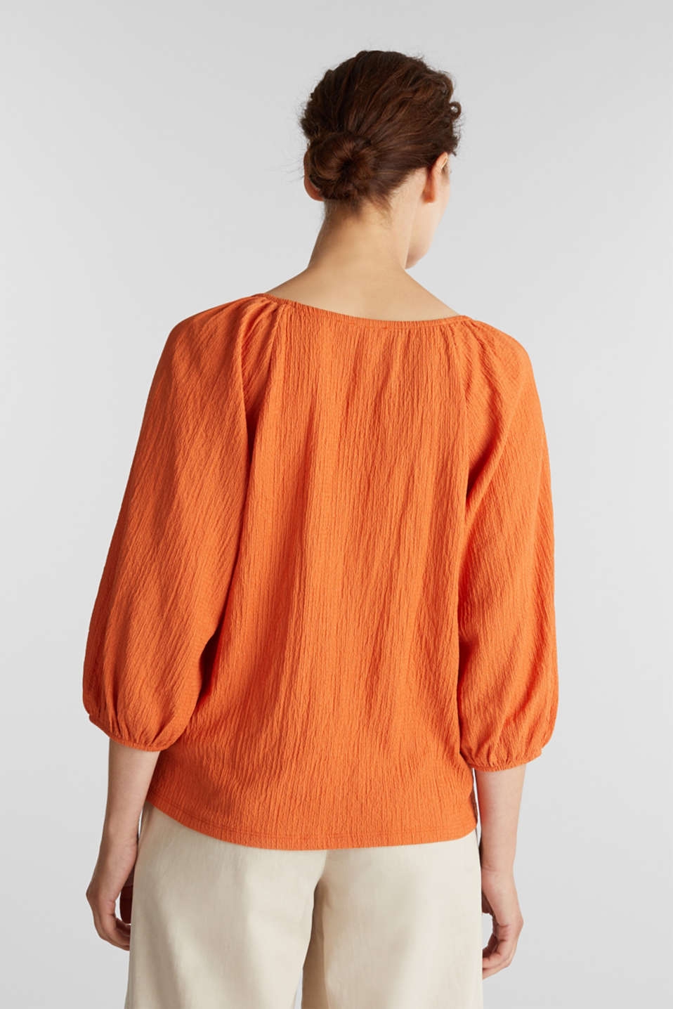 Textured blouse top, recycled, RUST ORANGE, detail image number 3