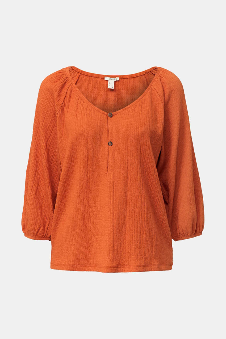 Textured blouse top, recycled, RUST ORANGE, detail image number 6