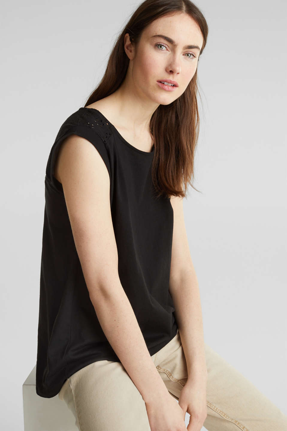 Broderie anglaise top, 100% cotton, BLACK, detail image number 0