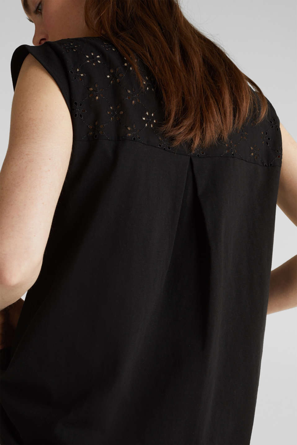 Broderie anglaise top, 100% cotton, BLACK, detail image number 4