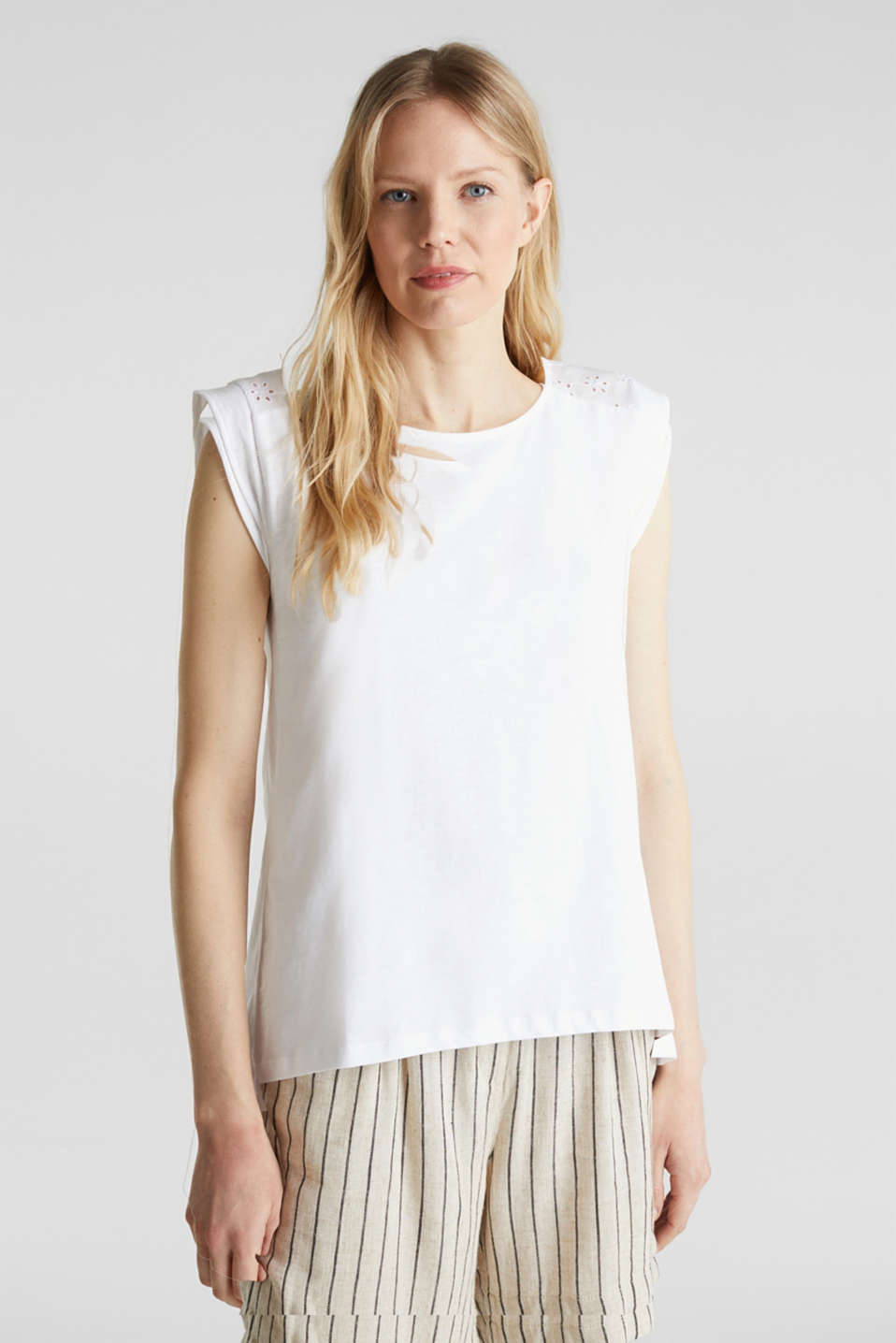 Esprit - Broderie anglaise top, 100% cotton