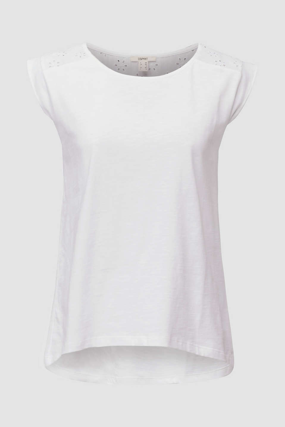 Broderie anglaise top, 100% cotton, WHITE, detail image number 5