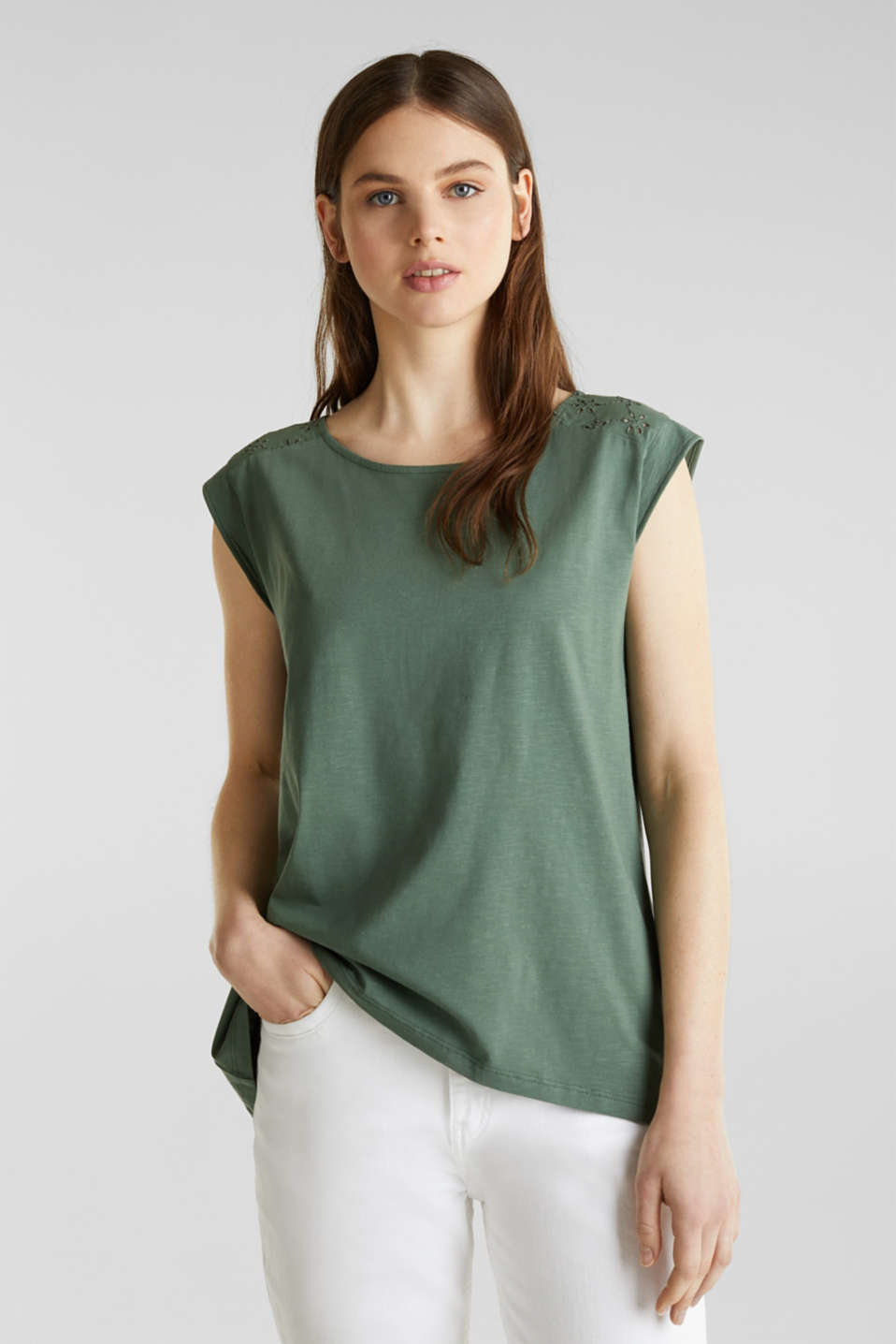 Broderie anglaise top, 100% cotton, KHAKI GREEN, detail image number 0