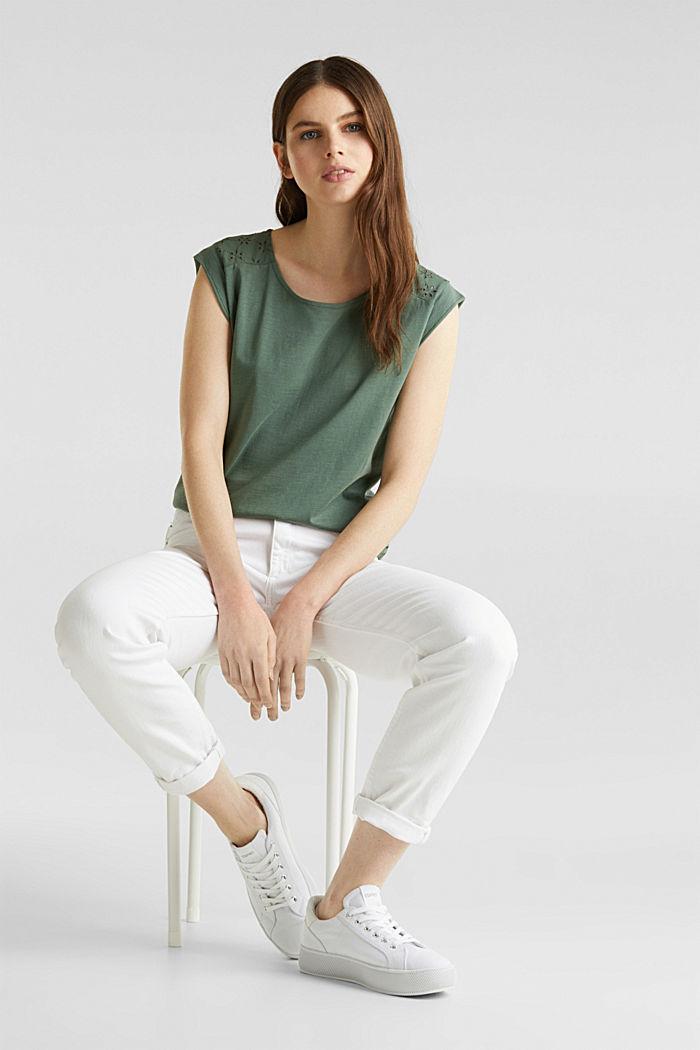 Shirt met opengewerkt borduursel, 100% katoen, KHAKI GREEN, detail image number 1