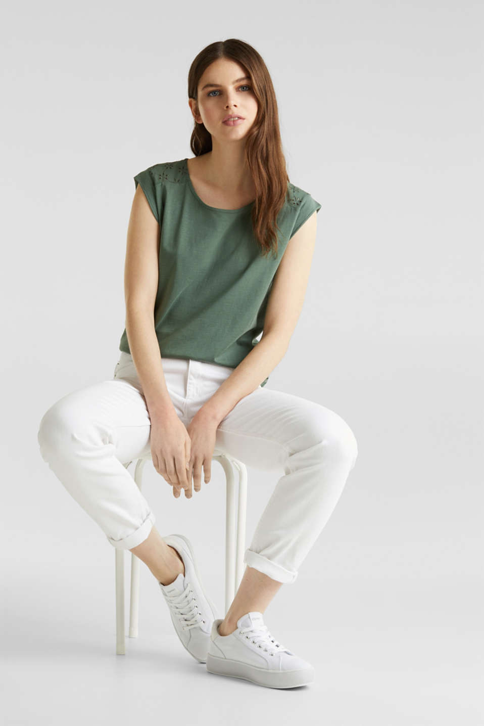 Broderie anglaise top, 100% cotton, KHAKI GREEN, detail image number 1
