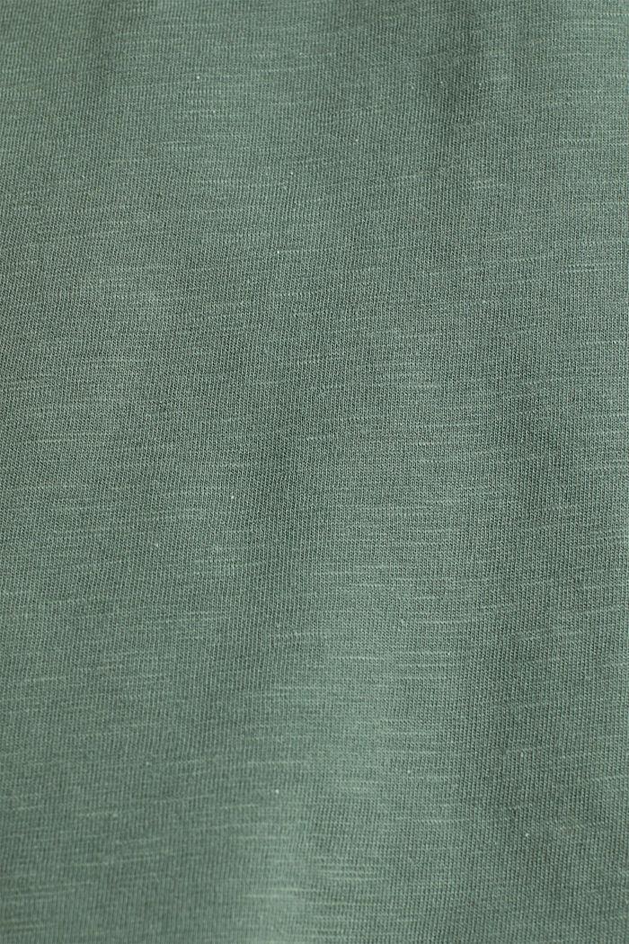 Shirt met opengewerkt borduursel, 100% katoen, KHAKI GREEN, detail image number 4