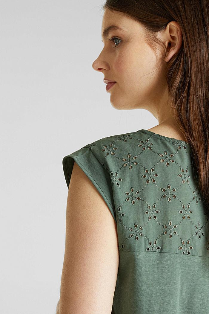 Shirt met opengewerkt borduursel, 100% katoen, KHAKI GREEN, detail image number 5