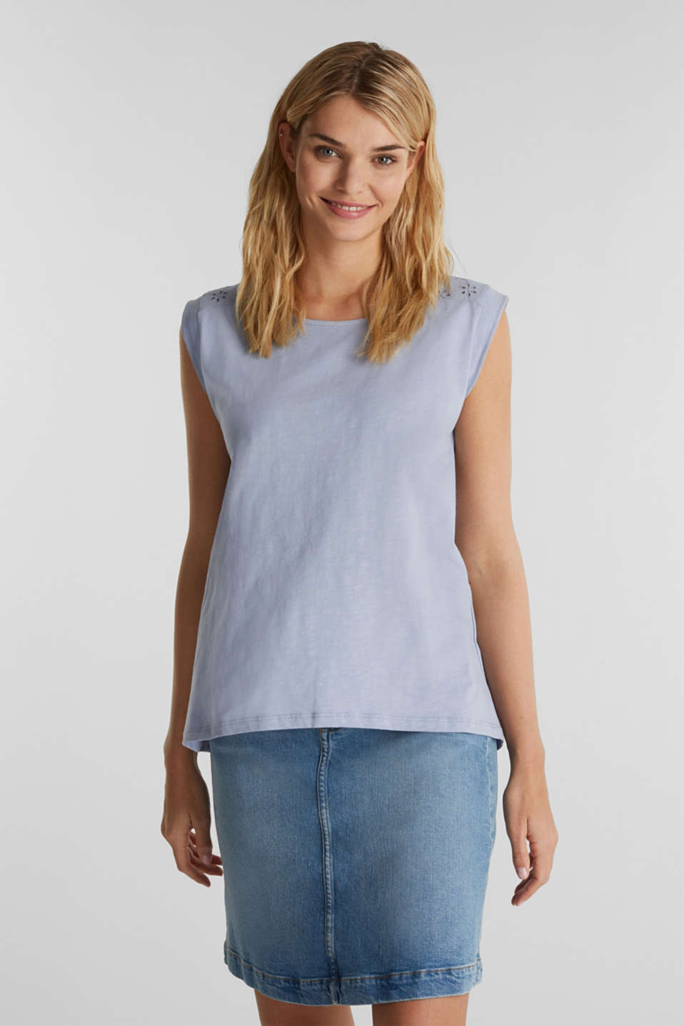 Broderie anglaise top, 100% cotton, GREY BLUE, detail image number 0