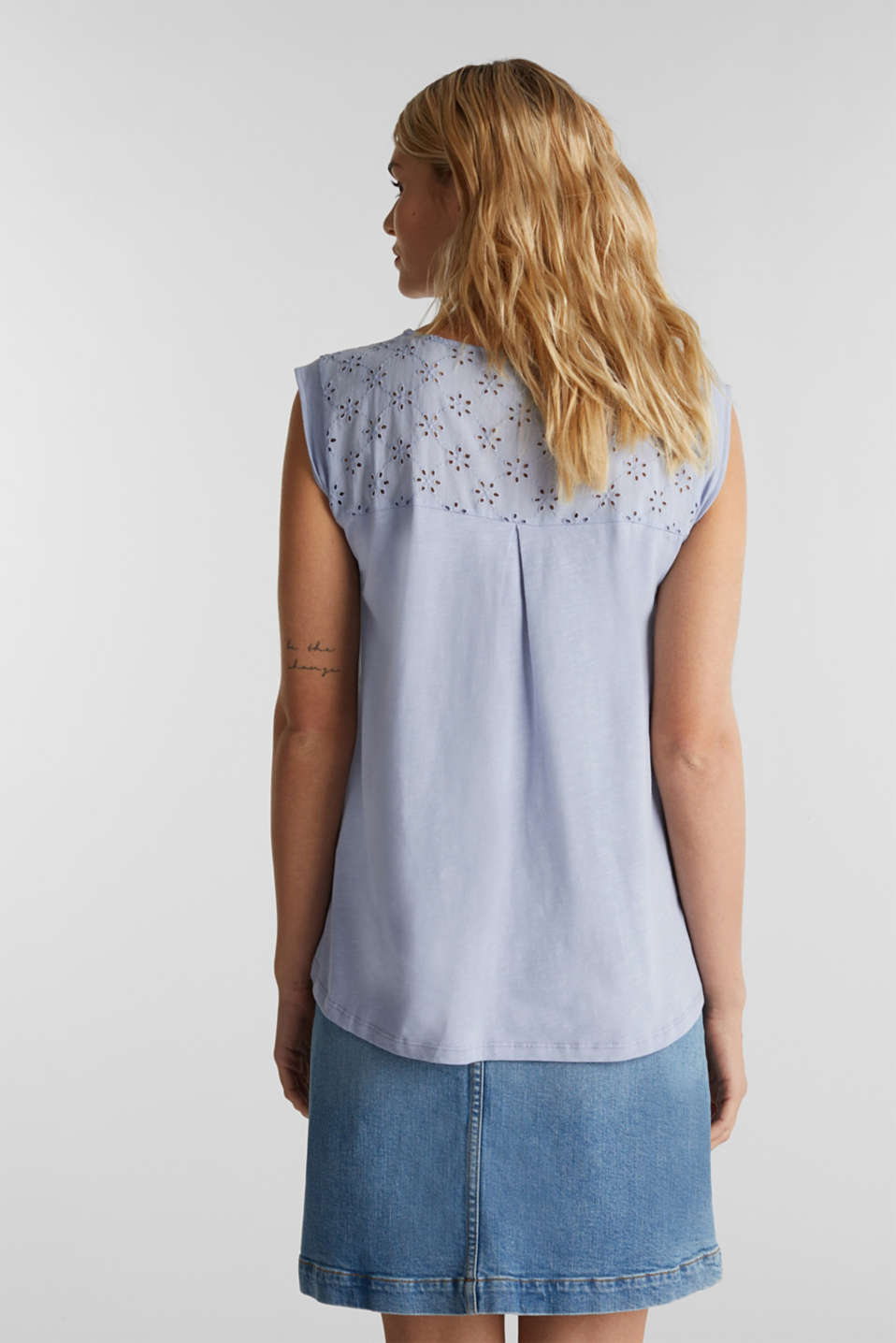 Broderie anglaise top, 100% cotton, GREY BLUE, detail image number 2