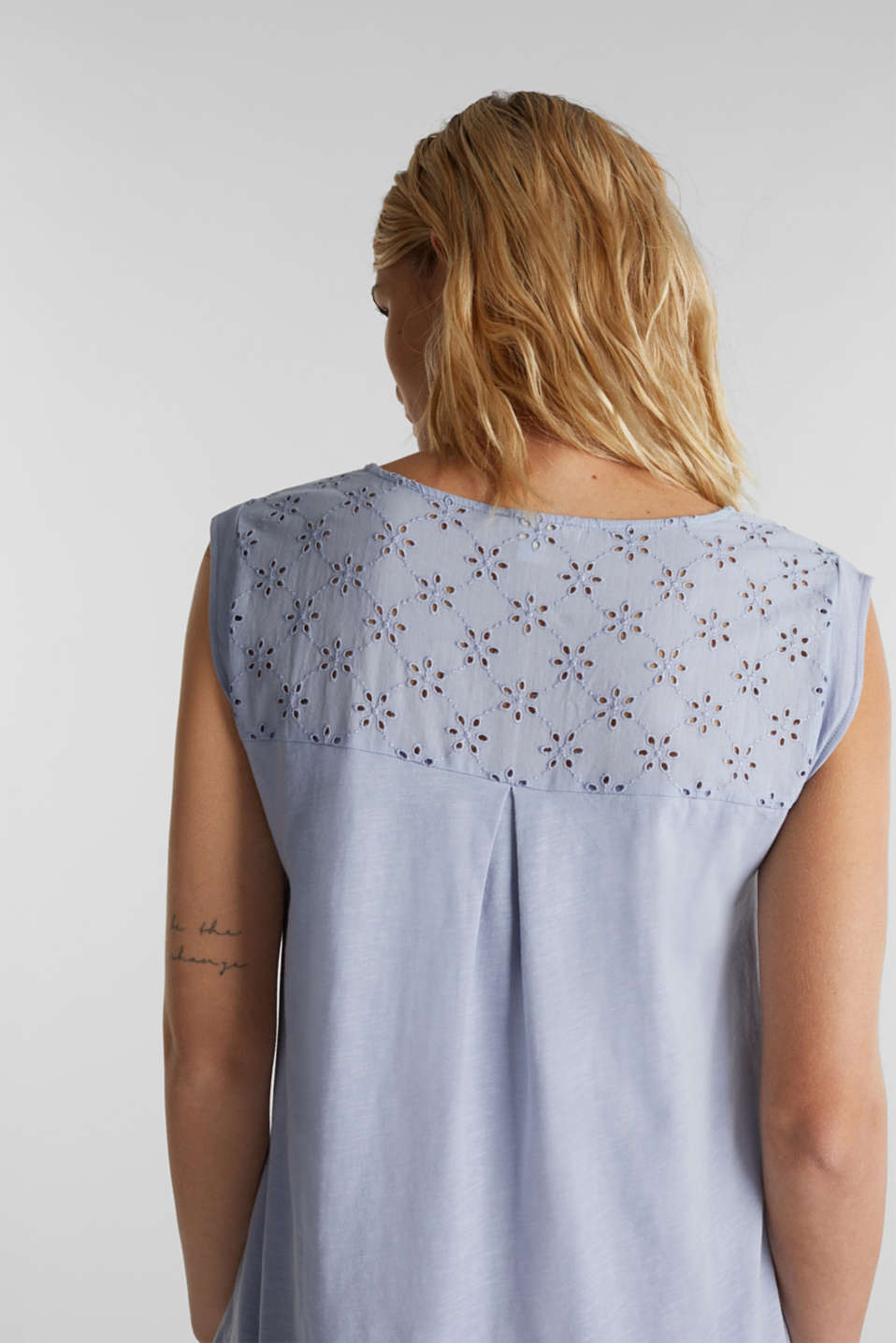 Broderie anglaise top, 100% cotton, GREY BLUE, detail image number 4