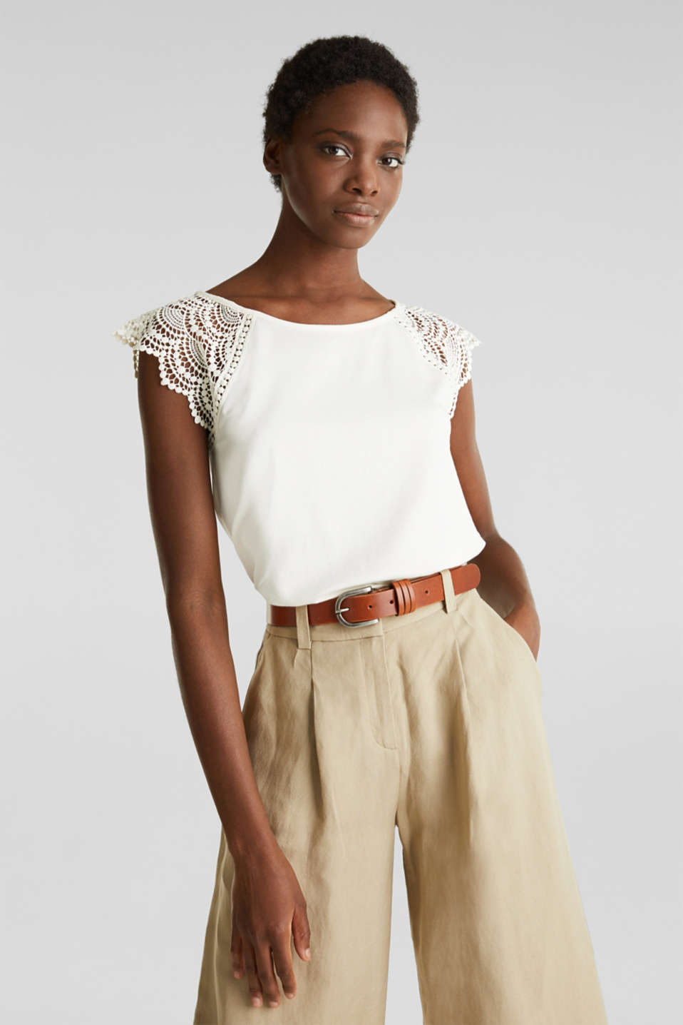 Top with lace shoulders, OFF WHITE, detail image number 0