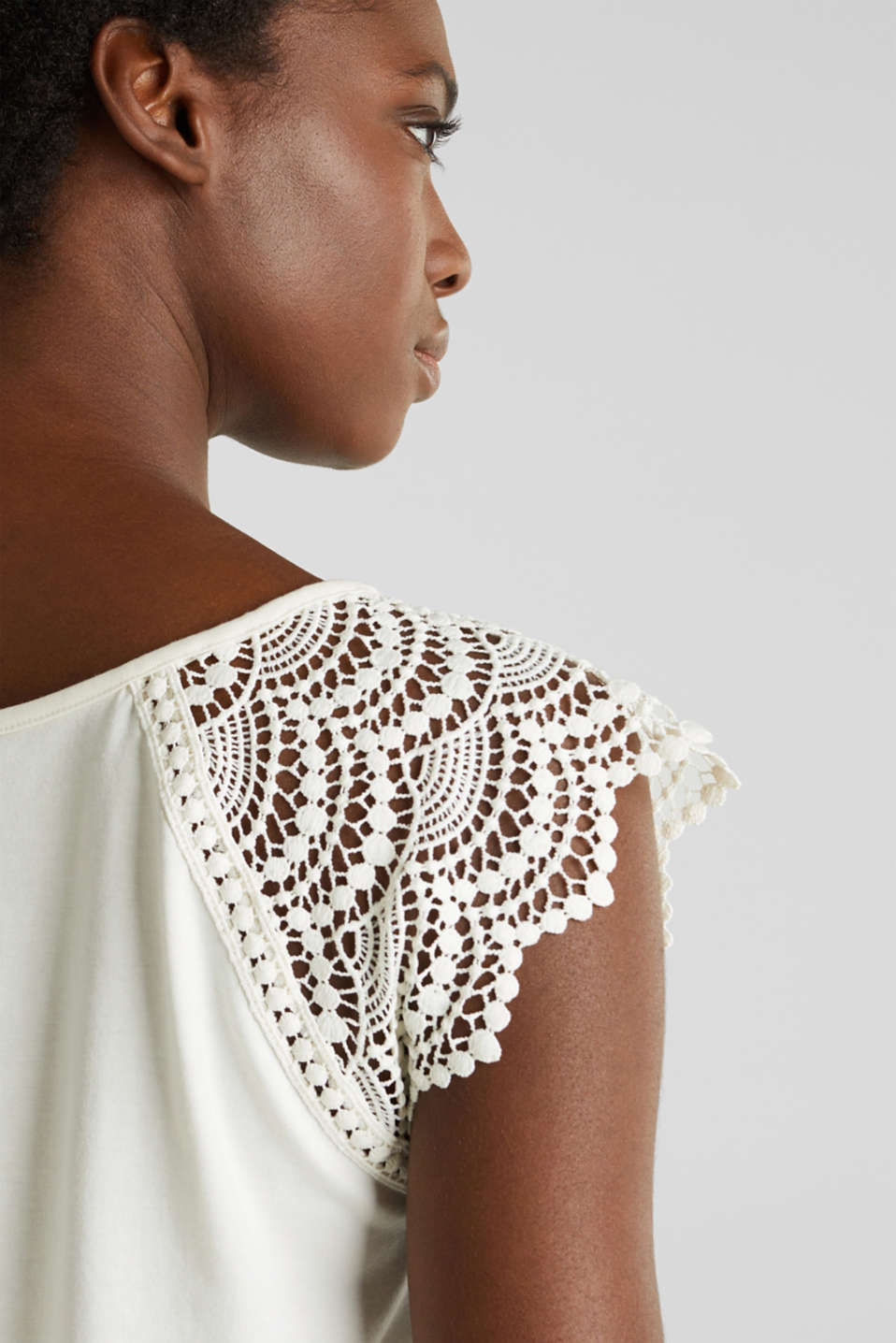 Top with lace shoulders, OFF WHITE, detail image number 4
