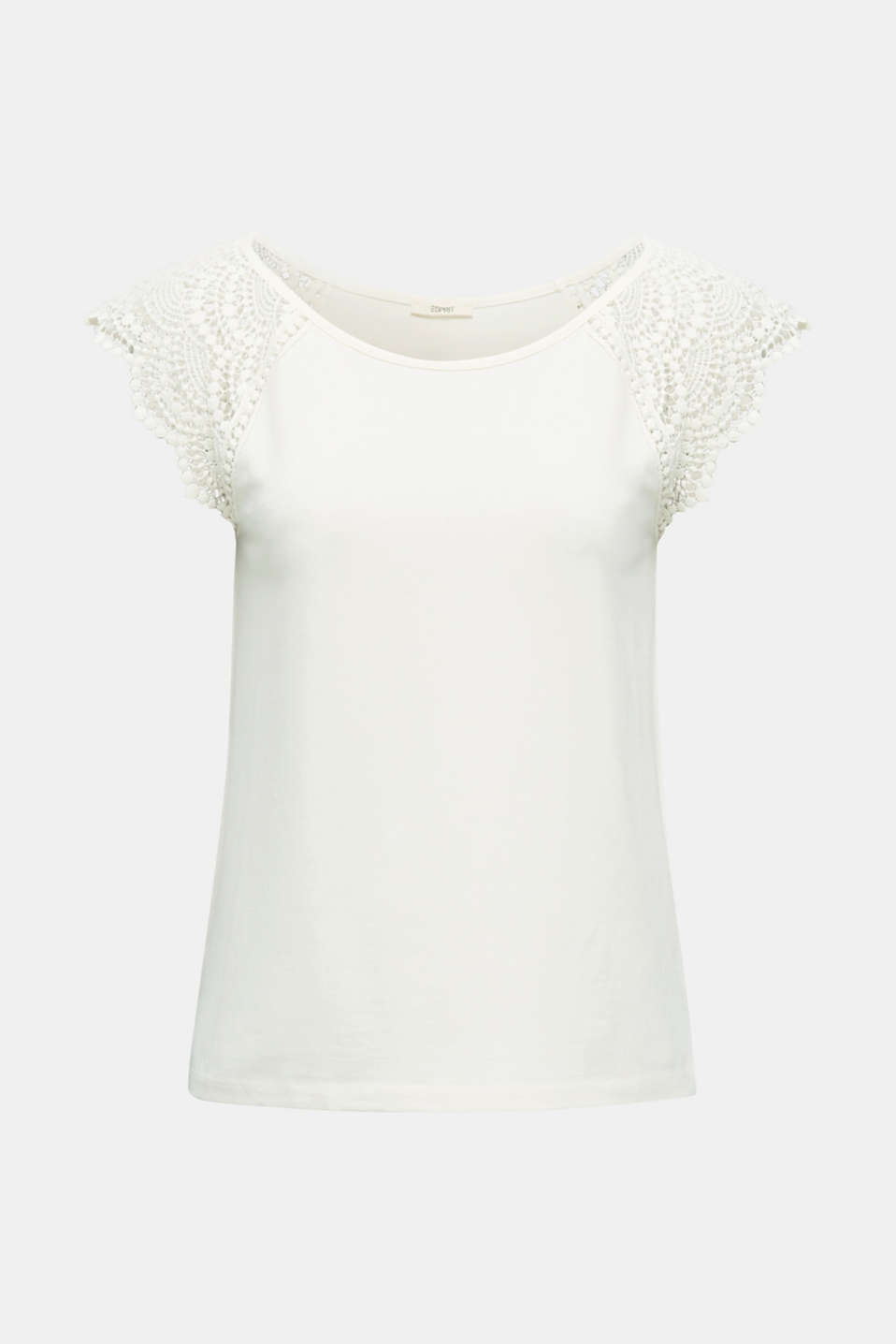 Top with lace shoulders, OFF WHITE, detail image number 5