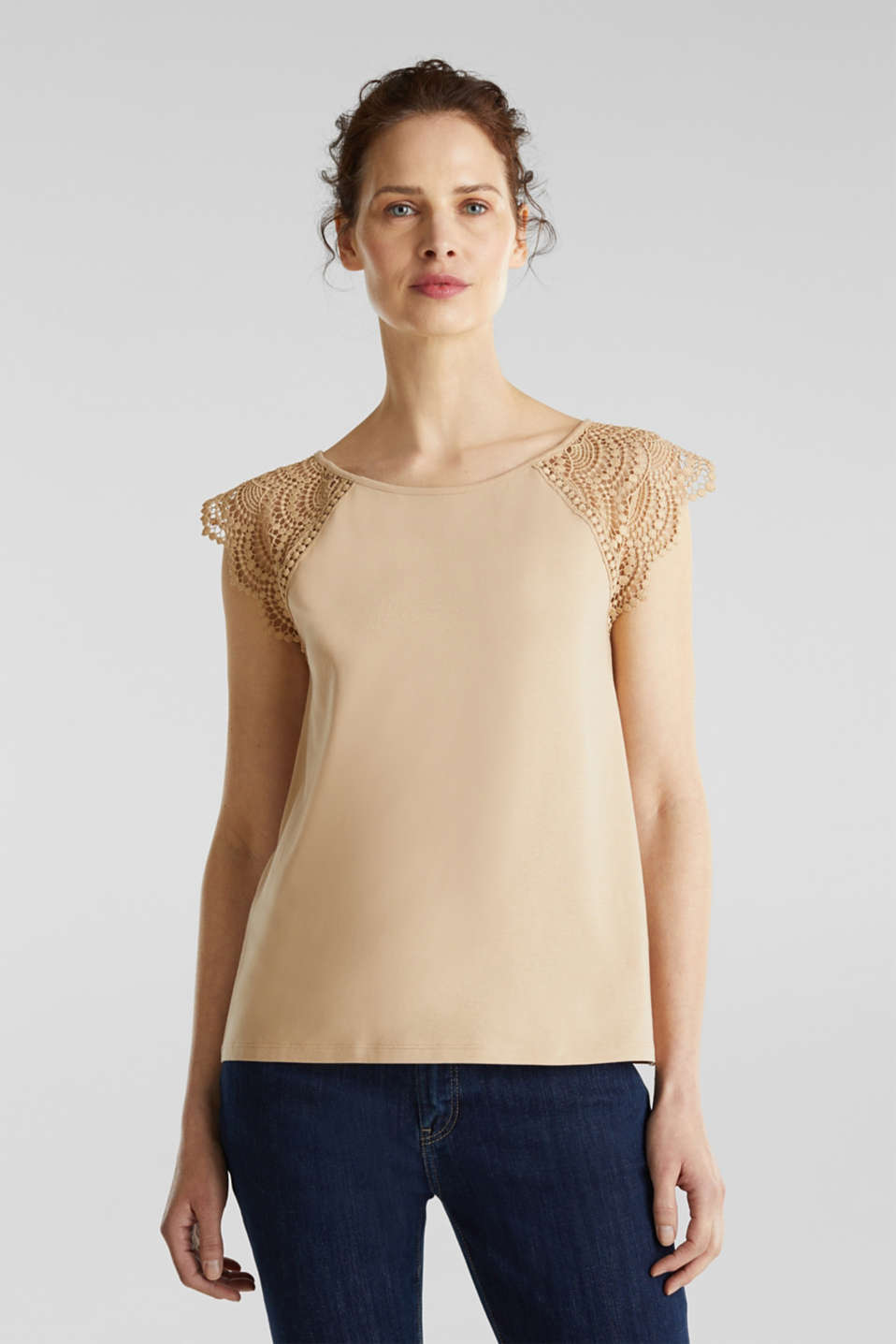 Esprit - Top with lace shoulders