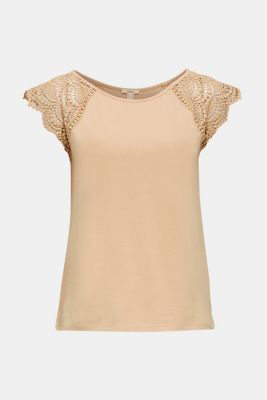 Top with lace shoulders, LIGHT TAUPE 4, detail