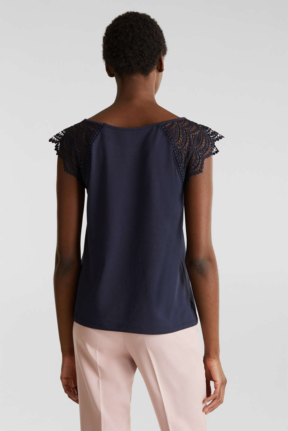 Top with lace shoulders, NAVY, detail image number 3