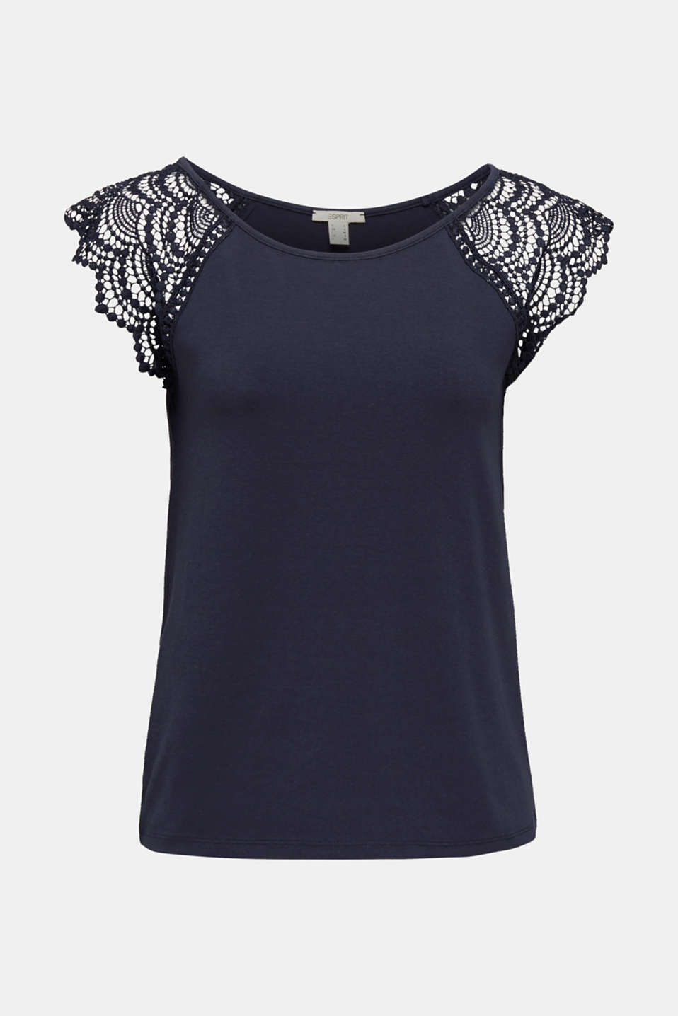 Top with lace shoulders, NAVY, detail image number 7