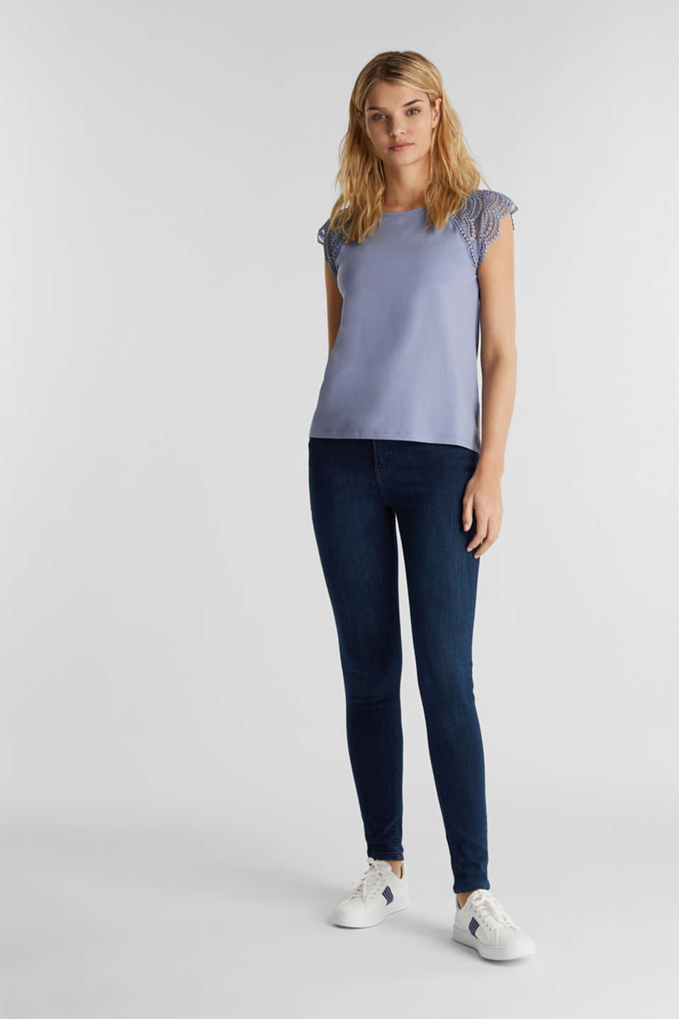 Top with lace shoulders, GREY BLUE, detail image number 1