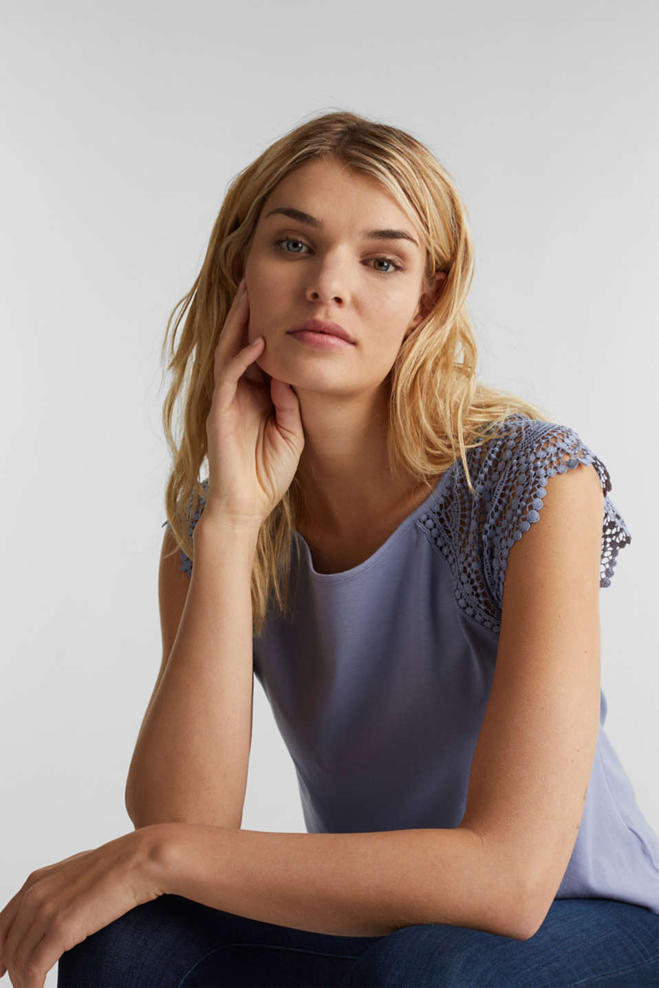 Top with lace shoulders, GREY BLUE, detail image number 5