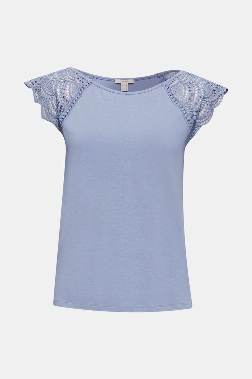 Top with lace shoulders, GREY BLUE, detail image number 6