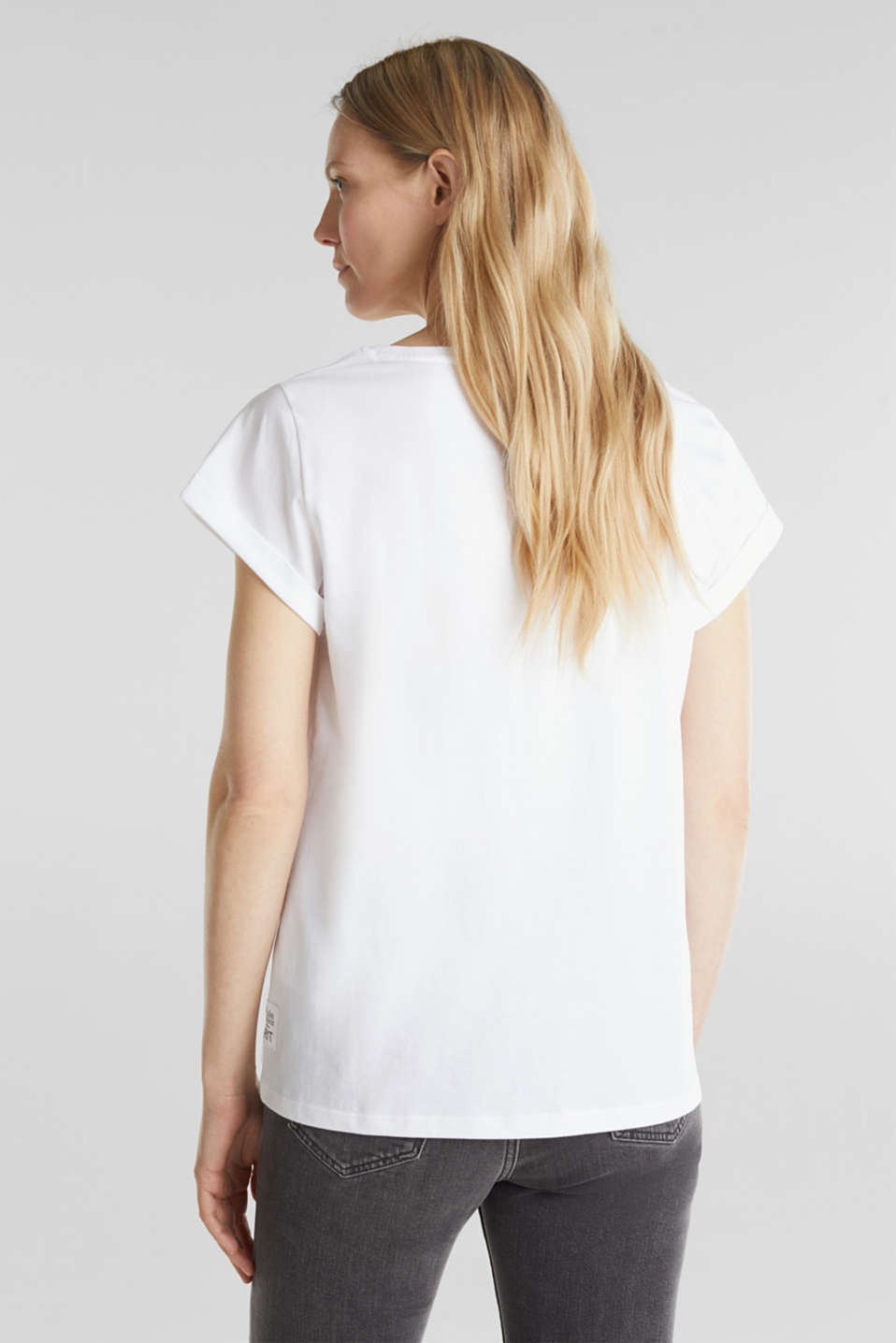 T-shirt with statement print, 100% organic cotton, WHITE, detail image number 3