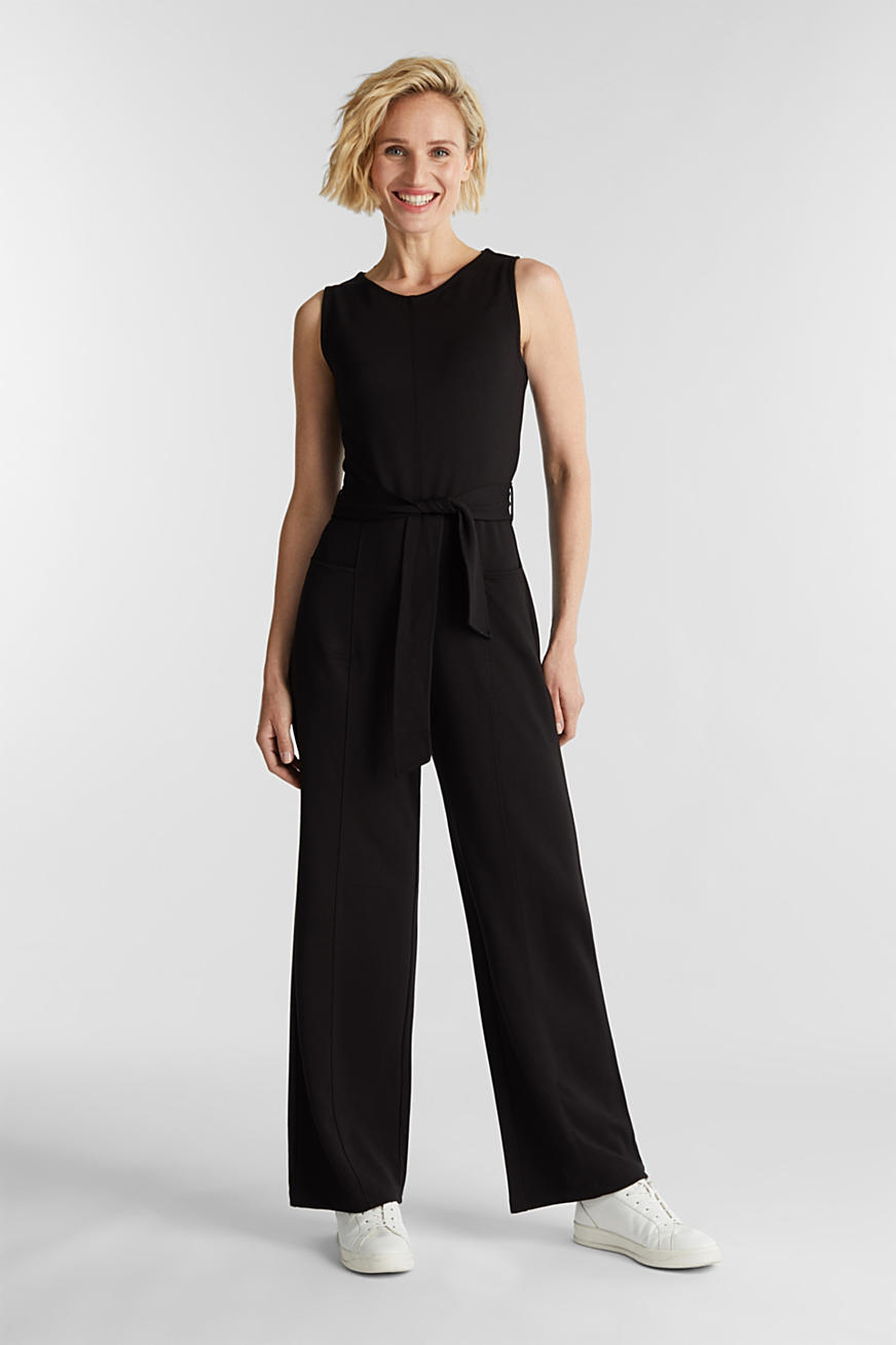 Stretch jersey jumpsuit with belt