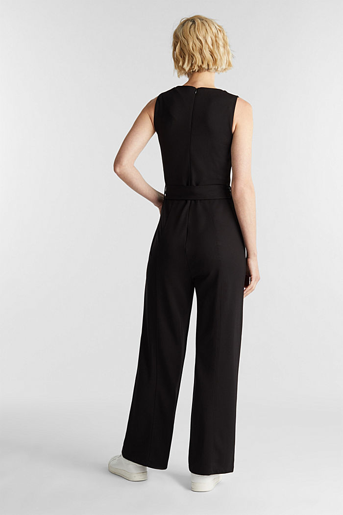 Jersey jumpsuit met stretch en ceintuur, BLACK, detail image number 2