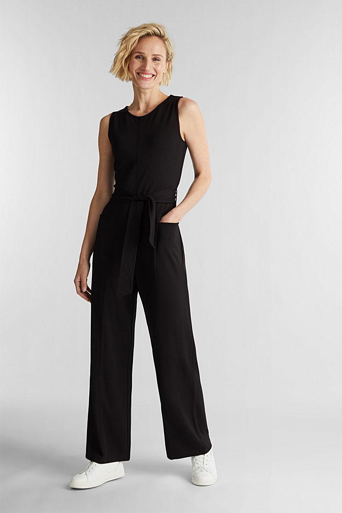 Jersey jumpsuit met stretch en ceintuur, BLACK, detail image number 1