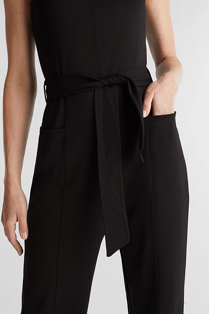 Jersey jumpsuit met stretch en ceintuur, BLACK, detail image number 3