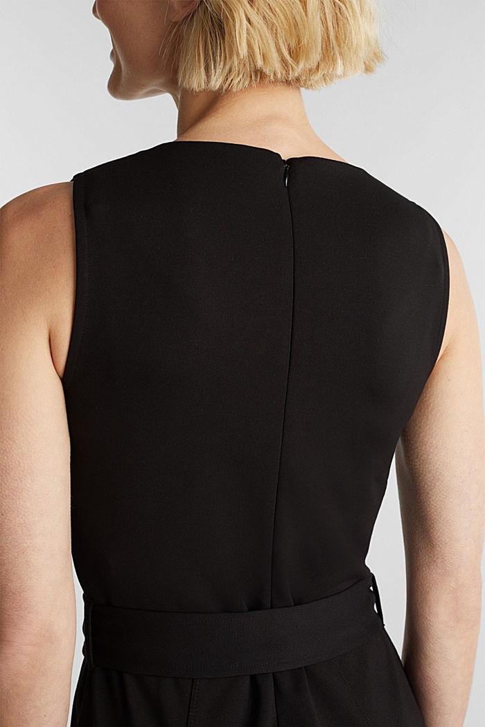 Jersey jumpsuit met stretch en ceintuur, BLACK, detail image number 5