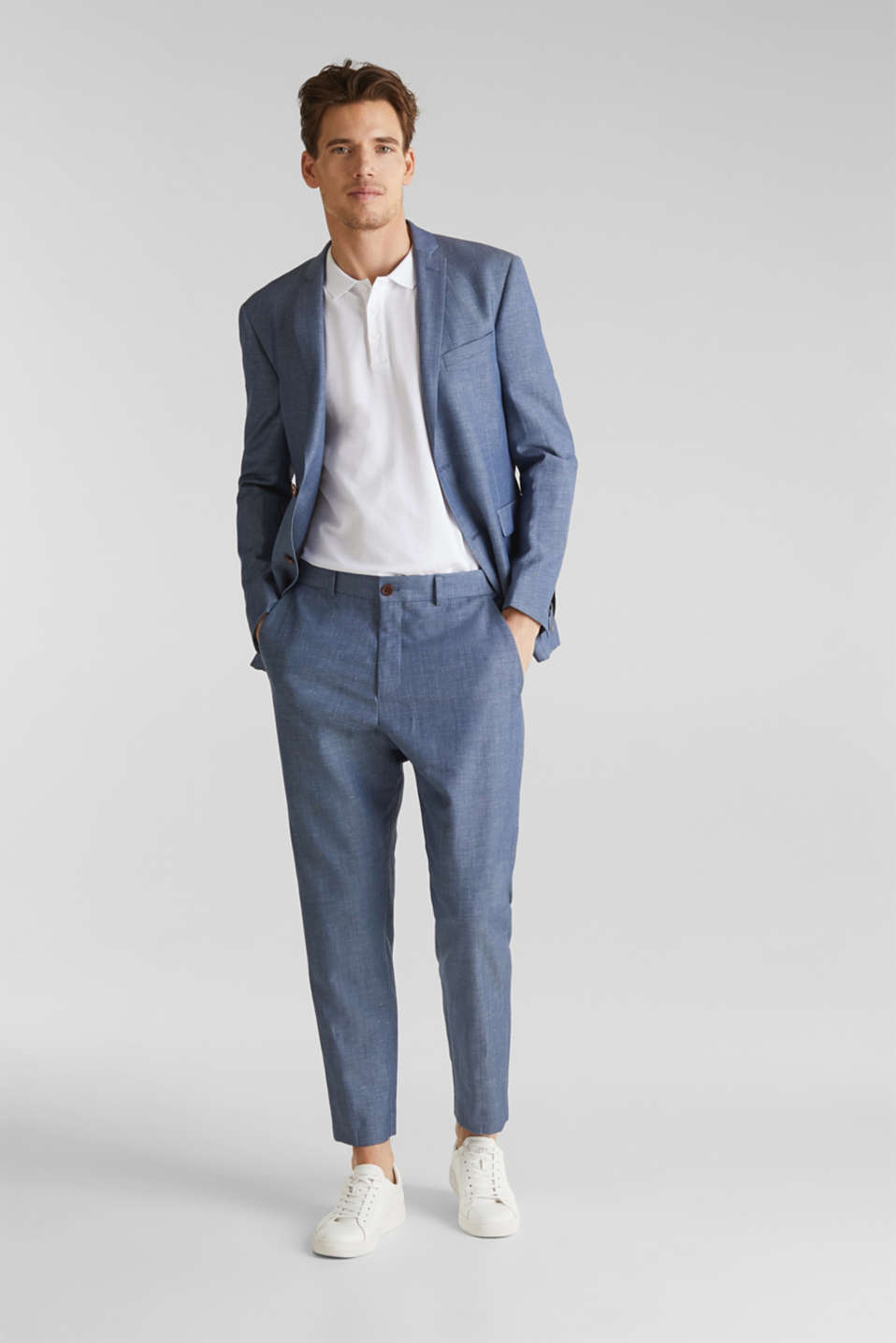 Blended linen: JOGG SUIT mix + match: trousers, BLUE 5, detail image number 2