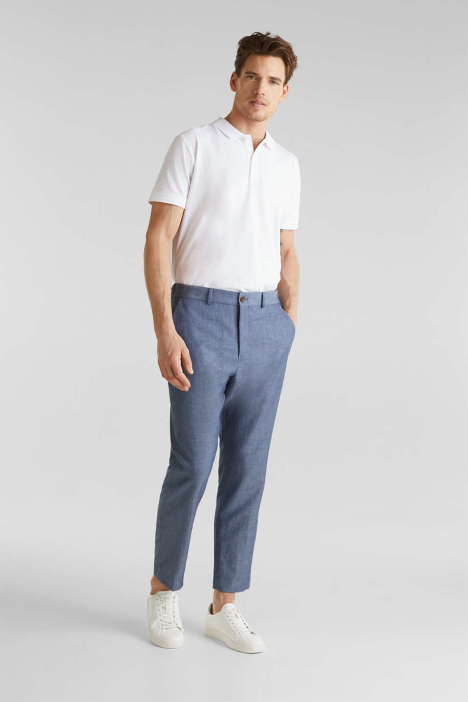 Blended linen: JOGG SUIT mix + match: trousers, BLUE 5, detail image number 6