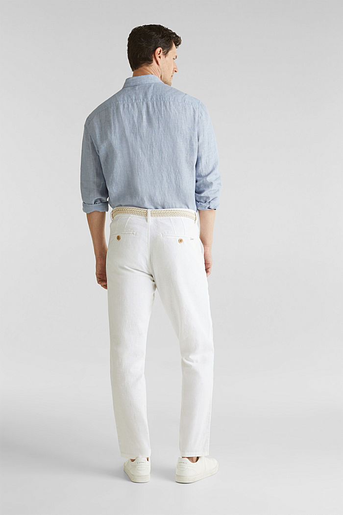 Linen blend: trousers with belt, WHITE, detail image number 3